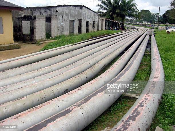 Oil pipelines are seen running through Okrika a town in the Niger delta where a peace procession by Tom Ateke's militia Niger Delta Vigilante Service...