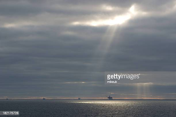 oil platforms at sea - construction platform stock photos and pictures