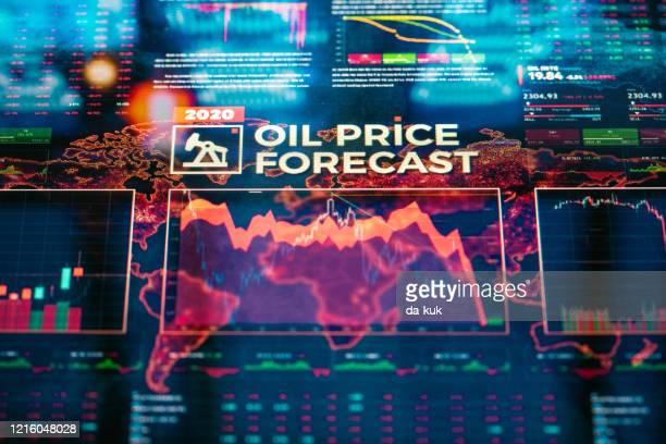 oil price forecast background - oil prices stock pictures, royalty-free photos & images