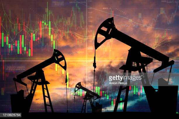 oil pump with candle stick graph chart in the background. world oil industry - motor oil stock pictures, royalty-free photos & images