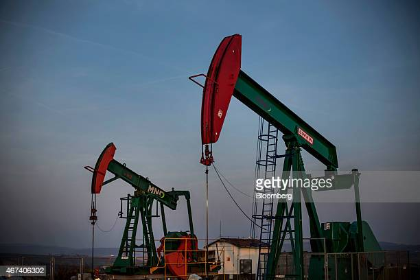 Oil pumping units also known as nodding donkeys or pump jacks operate at an oil plant operated by MND AS in Uhrice Czech Republic on Monday March 23...