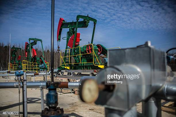Oil pumping units also known as nodding donkeys or pump jacks stand at an oil plant operated by MND AS in Uhrice Czech Republic on Monday March 23...