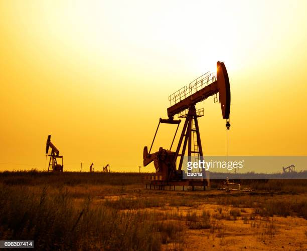 Oil pumps working at sunset