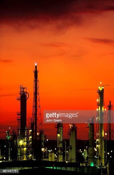 Oil refinary at dusk