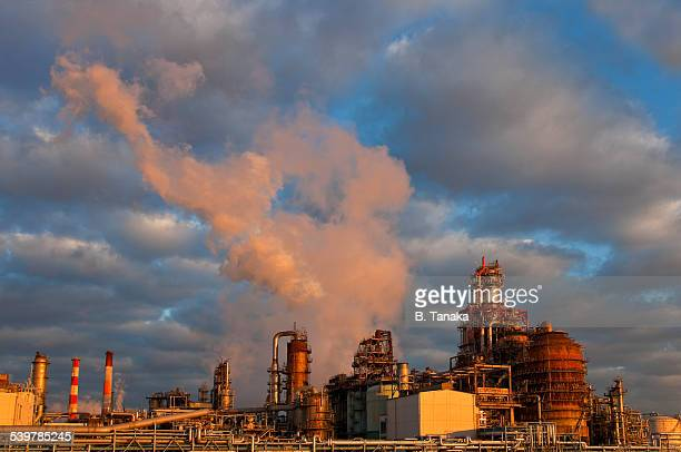 Oil refineries at dawn in Kawasaki, Japan