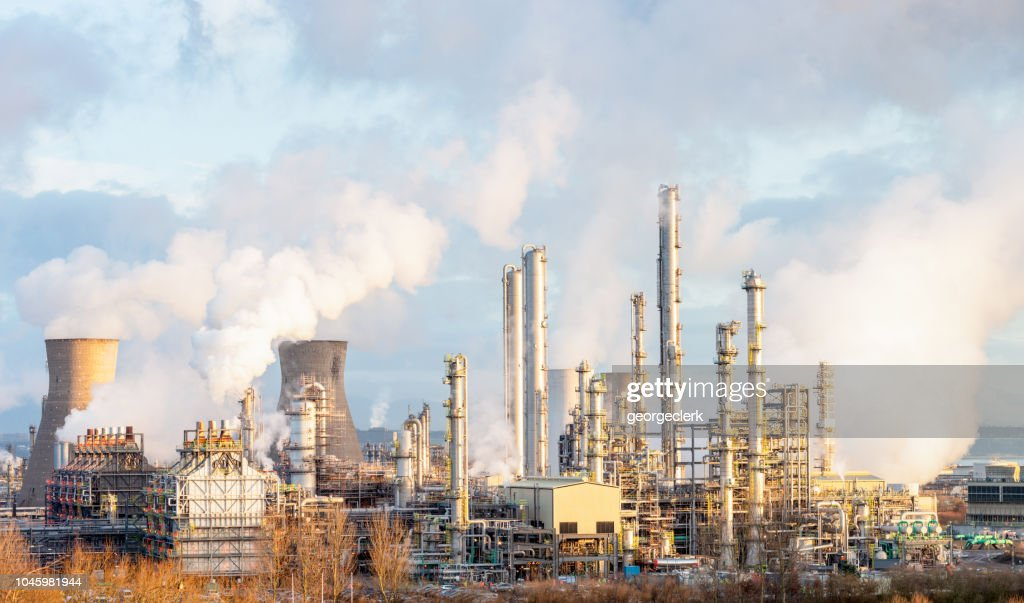 Oil Refinery and Petrochemical Plant at Grangemouth in Scotland : Stock Photo