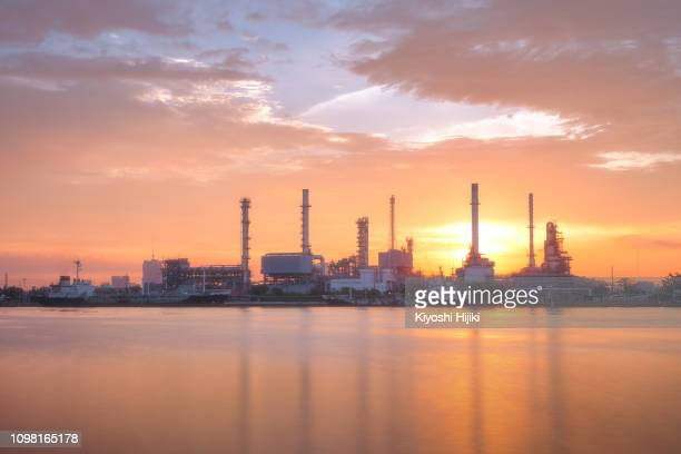 oil refinery and  petrochemical plant view in morning, oil and gas industry - oil prices stock pictures, royalty-free photos & images