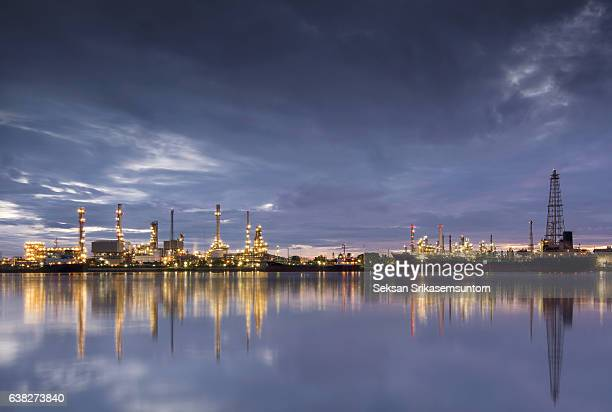 Oil refinery and Ship fuel delivery at twilight