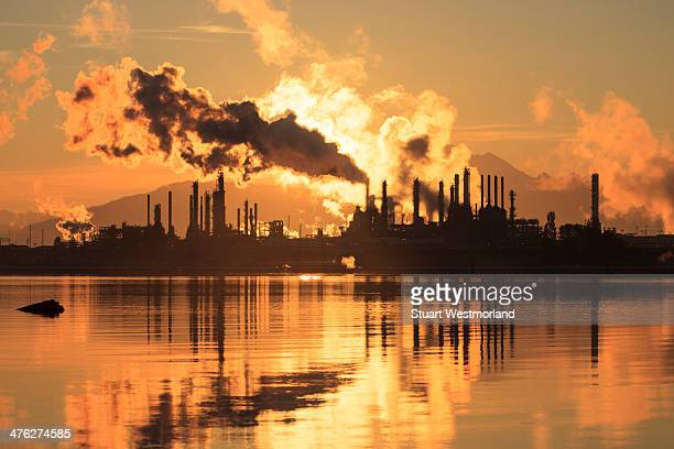 Oil refinery at sunrise