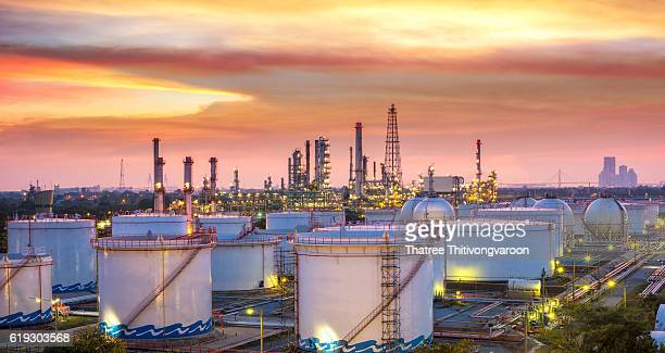 Oil refinery at Sunset - factory - petrochemical plant