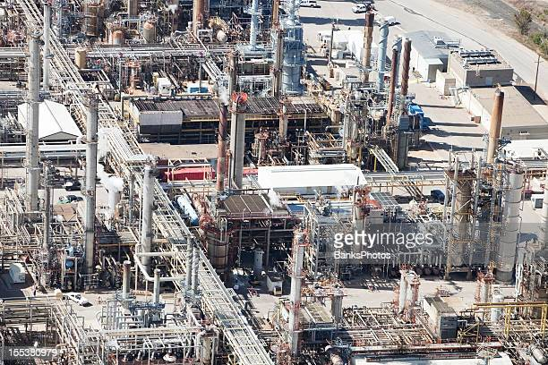 oil refinery detail aerial - man made structure stock pictures, royalty-free photos & images