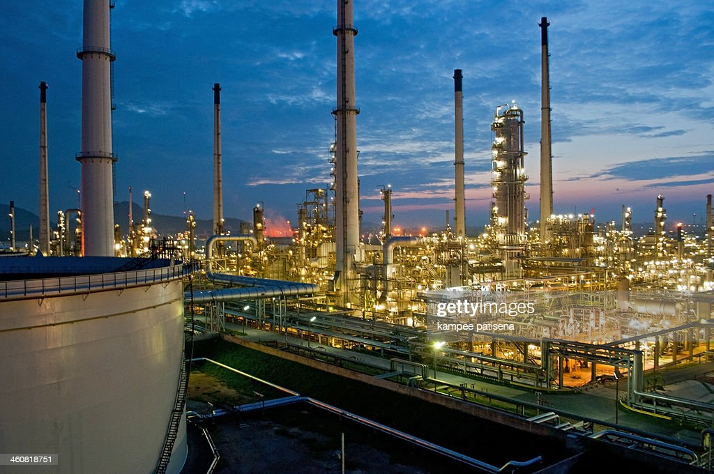 Oil refinery during the night : Stock Photo
