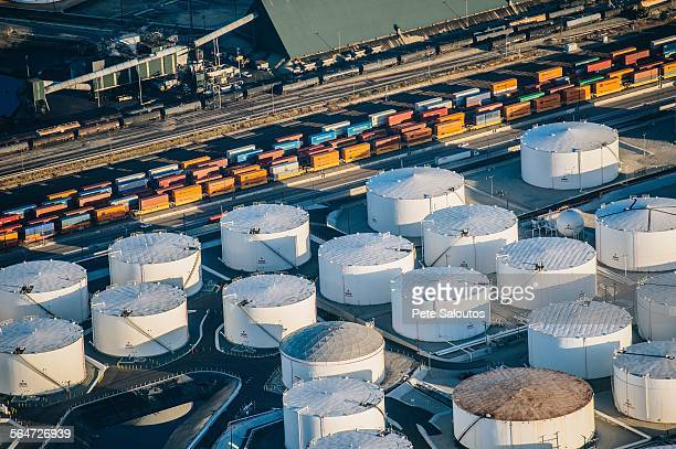 Oil refinery, elevated view, Los Angeles, CA, USA