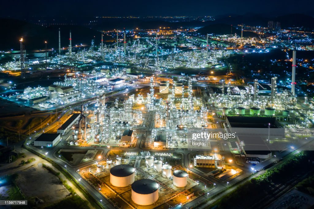 Oil refinery in the Night. : Stock Photo