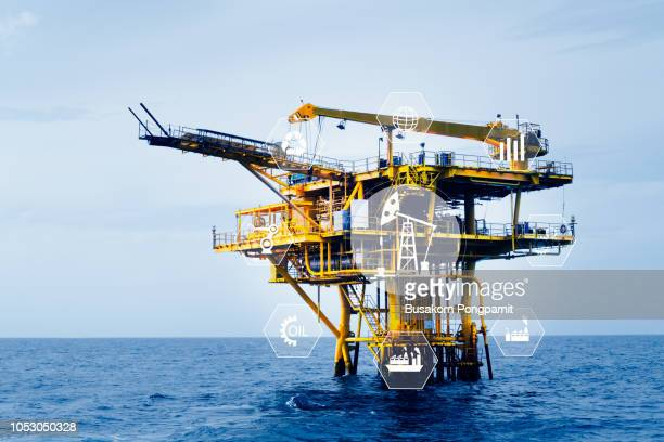 oil refinery industry plant background, industrial instruments in the factory and physical system icons concept, Industry 4.0 concept image