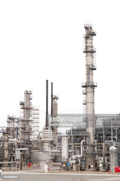 Oil refinery isolated on white