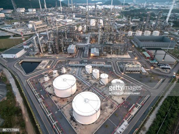 oil refinery, oil port ,oil tanker ship at thailand . - vaseline photos et images de collection