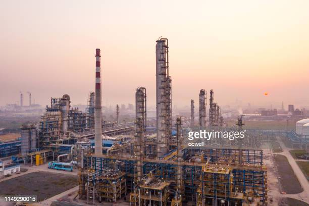 oil refinery - gas refinery stock photos and pictures