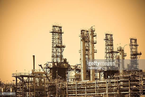 Oil Refinery (Sepia Tone)