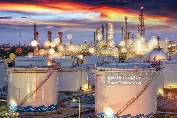 Oil refinery power station at sunset, Petrochemical industrial plant