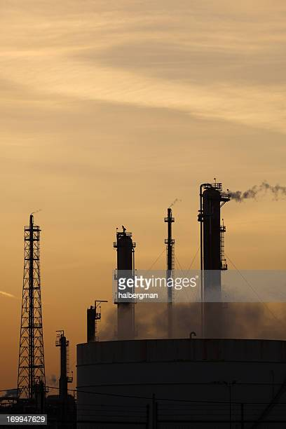 Oil Refinery Silhouette at Sunset