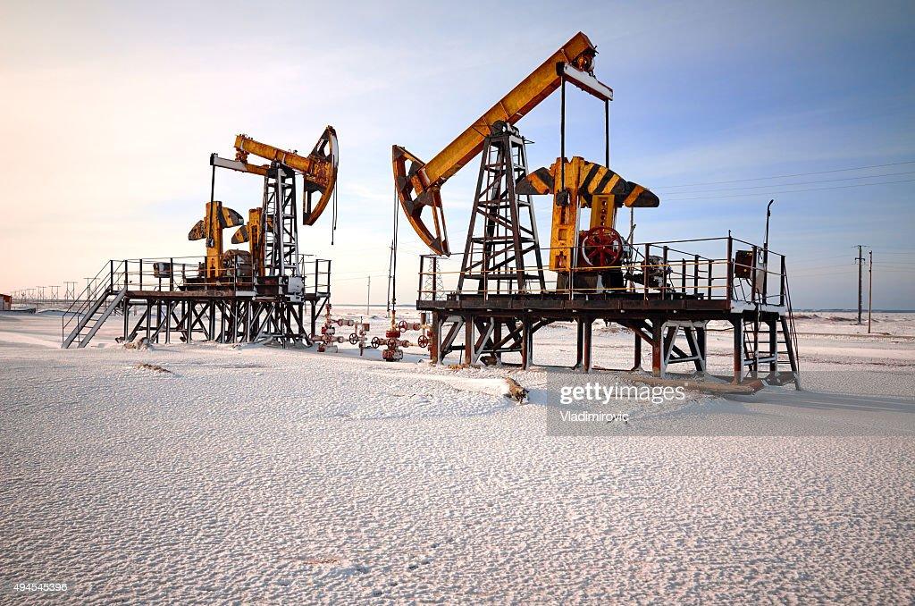 Oil rig back light : Stock Photo