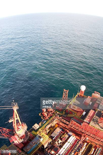 oil rig fisheye view - north sea stock photos and pictures