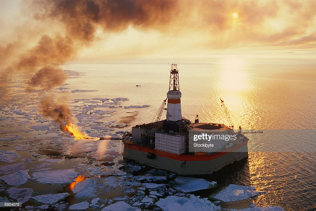 Oil rig in Beaufort Sea : Stock Photo