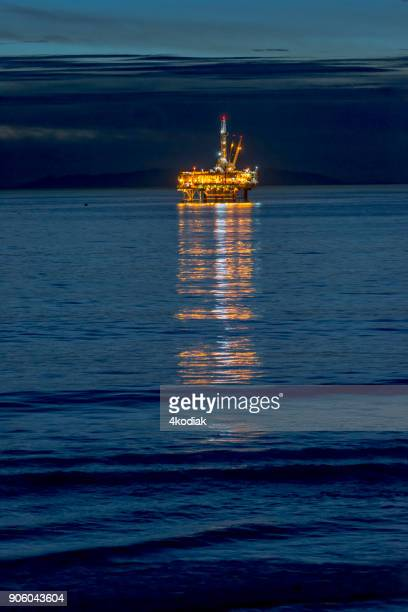 oil rig off the huntington beach in california - construction platform stock photos and pictures