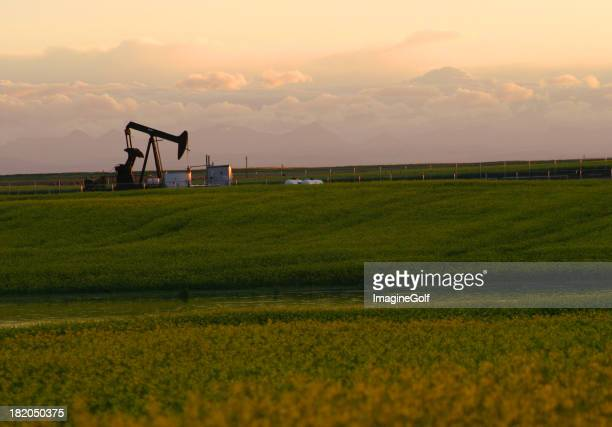 Oil rig on a grass field with a cloudy sky