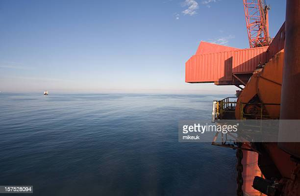 oil rig platform at sea - north sea stock photos and pictures