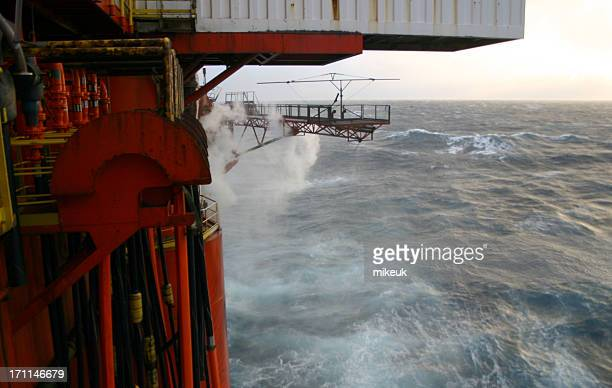 oil rig platform pontoons at sea