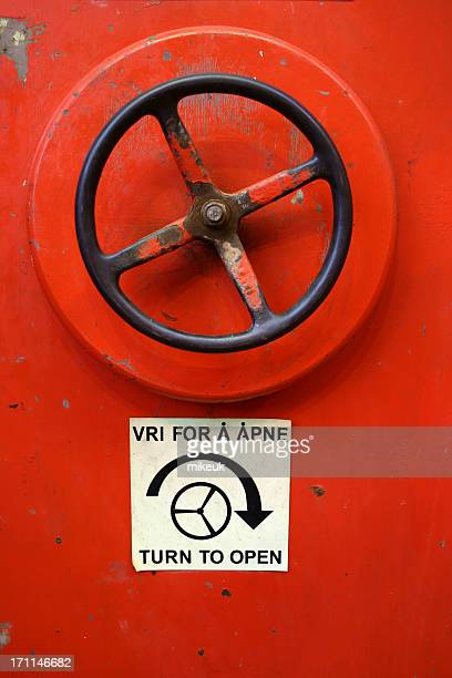 oil rig platform wheel handle to water tight door