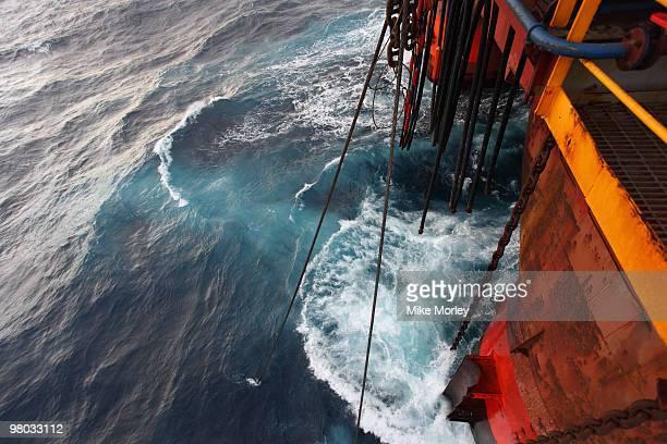oil rig storm at sea