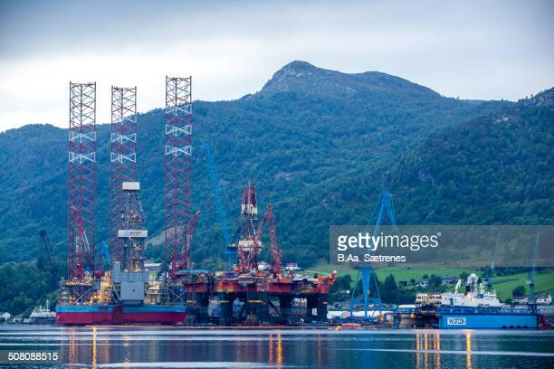 Oil rigs in Ølensvåg, Norway.