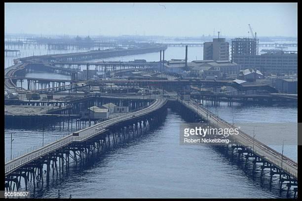 Oil Rocks City Caspian Sea industry facility re Azeri development & modernizing of Caspian Sea potential w. For. Oil co. Partners.