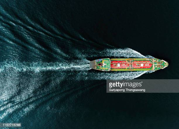 oil ship tanker or liquefied petroleum gas (lpg)  ship on the sea transportation oil/gas from refinery. - gasoline stock pictures, royalty-free photos & images