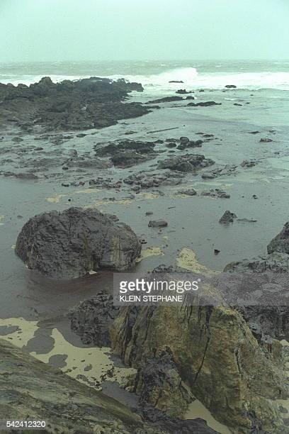 Oil slicks on the beaches at BatzsurMer near Le Croisic