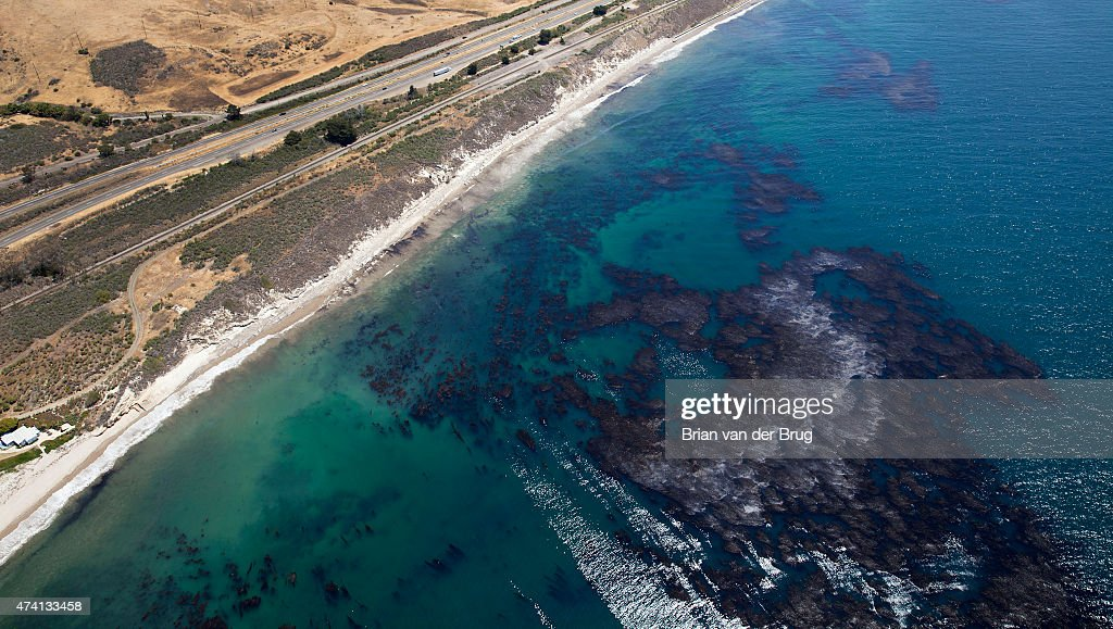 Oil soaked kelp and oil sheen as cleanup effort continues on the beach in Santa Barbara, Calif., on May 20, 2015.