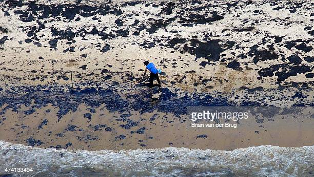 Oil spill cleanup and containment effort continues on the shore near Refugio State Beach in Santa Barbara Calif on May 20 2015