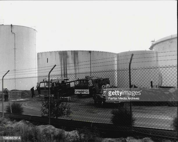 Oil spillage at the Ampol refinery in Yarra BayFiremen prepare to mop up the oil spill January 24 1981