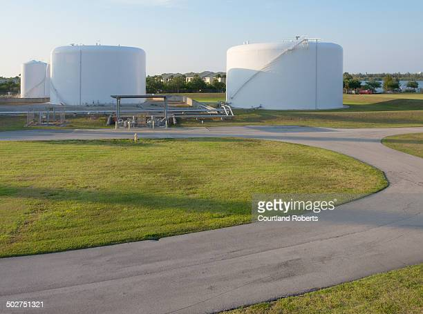 Oil storage facility at an electric power plant.