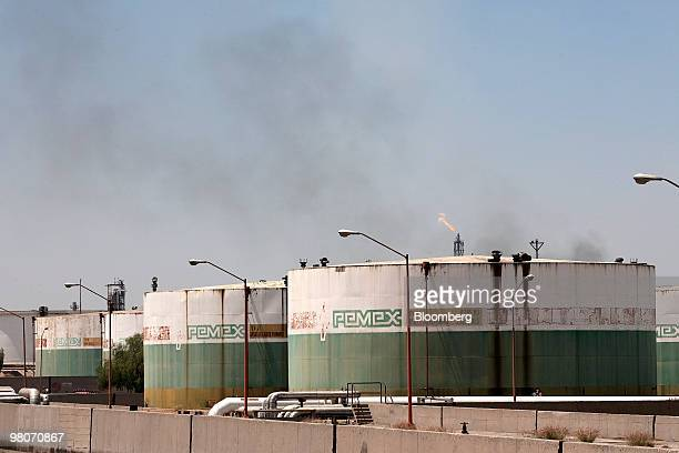Oil storage tanks sit at the Petroleos Mexicanos Miguel Hidalgo oil refinery in Tula de Allende Mexico on Thursday March 25 2010 Pemex Latin...
