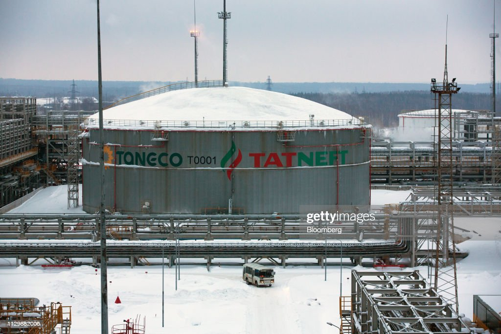 Oil storage tanks stand at the Taneco Oil Refining and