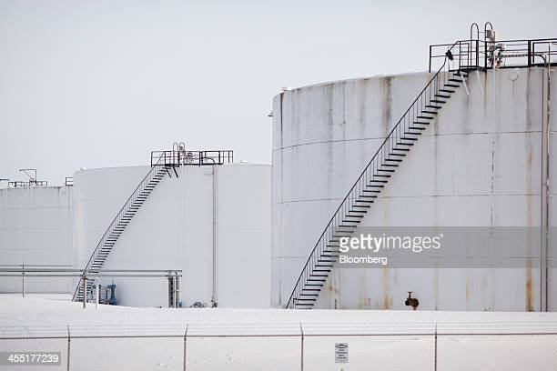 Oil tank stands at the Hardisty tank farm which includes the TransCanada Corp Hardisty Terminal 1 in Hardisty Alberta Canada on Saturday Dec 7 2013...