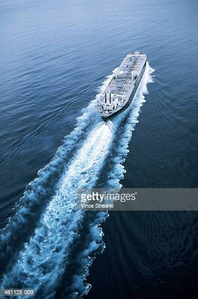 Oil tanker outside Los Angeles harbour, California, USA, elevated