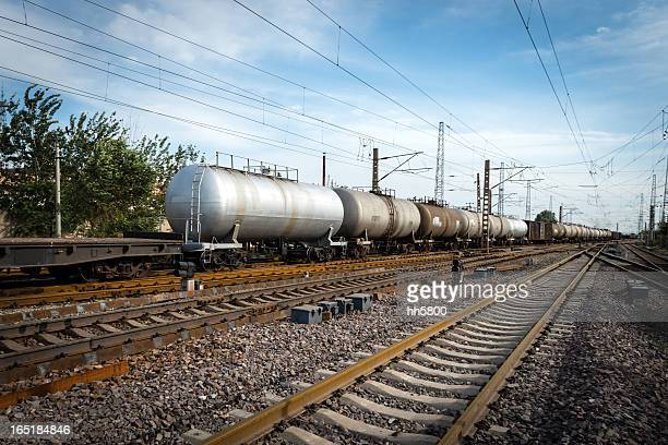 oil tanker train - carriage stock pictures, royalty-free photos & images