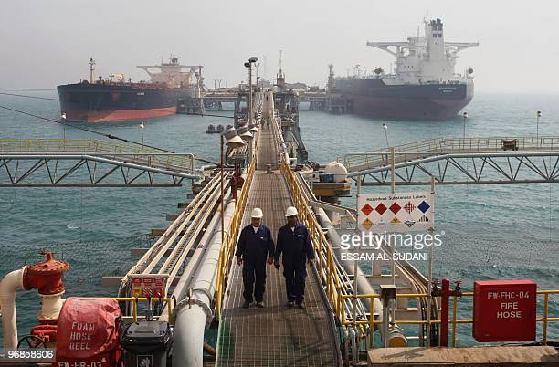 Oil tankers are anchored at Basra harbour, 550 kms south of Baghdad, on February 19, 2010. Iraqi Oil Minister Hussein al-Shahristani announced the...