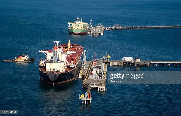Oil tankers docked in the middle of the ocean