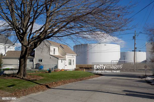 Oil tanks are part of the scenery in the Pleasantdale neighborhood